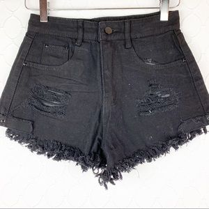 Pants - 🌵2/$30 High Waisted Black Distressed Short XS